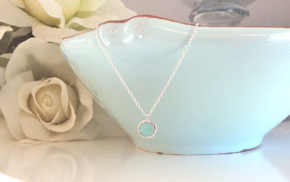 Silver Necklace Mint Necklace Bridesmaid by AvaHopeDesigns on Etsy