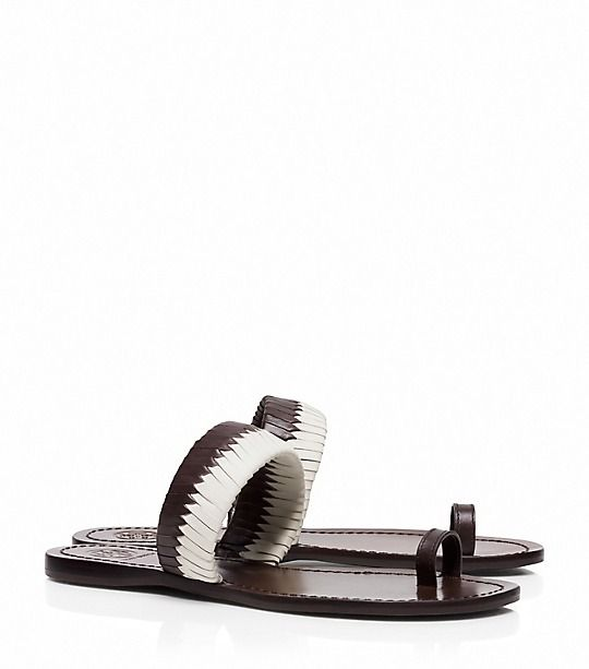 Love in coconut~Tory Burch Bi-color Woven Flat Slide