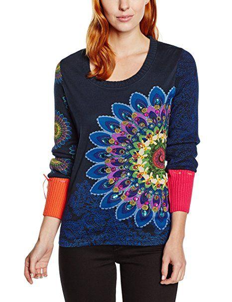 Desigual Carola - T-shirt - Imprimé - Col rond - Manches longues - Femme - Bleu (Navy) - FR: 36 (Taille fabricant: XS)