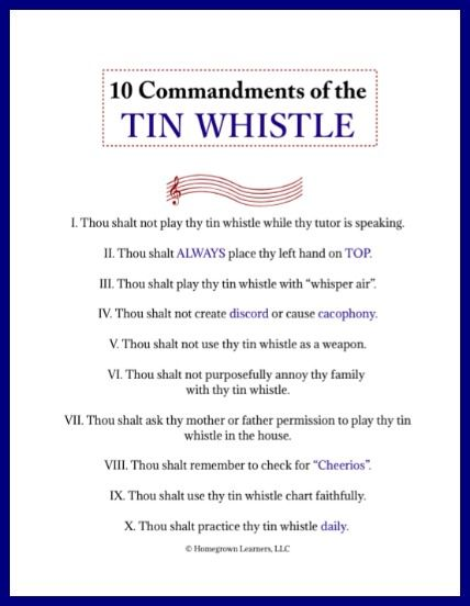 tin whistle tips and video. Ten Commandments of the Tin Whistle - free printable from Homegrown Learners