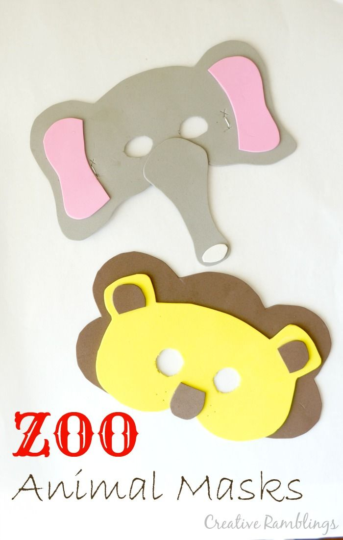 Easy foam masks for a kids party or Halloween. Elephant and Lion zoo animal masks.
