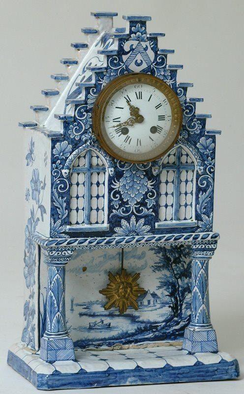Unusual clock; interesting use of Delftware. CLOCKS / BAROMETERS⌛️⏱⏰⏲⏰More At FOSTERGINGER @ Pinterest⏰⏲⏱⏳