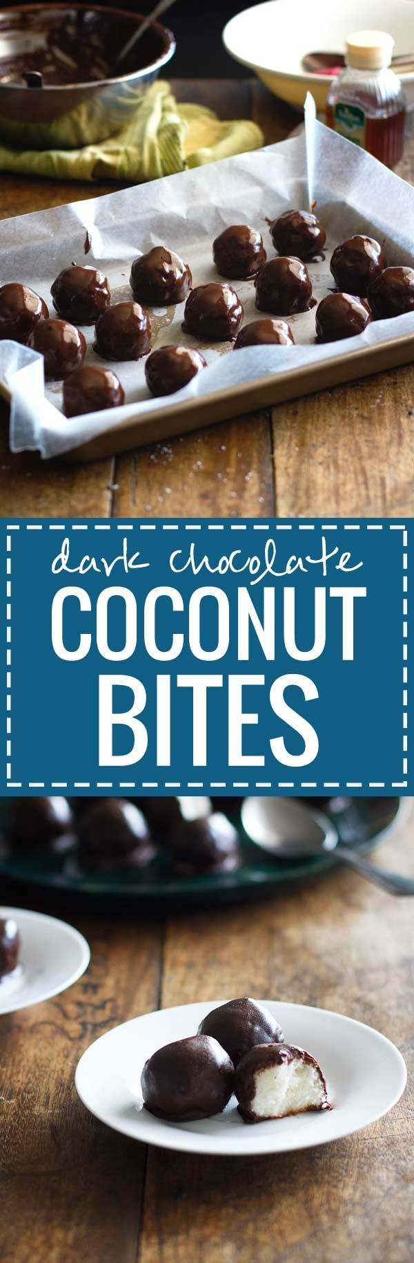 Dark Chocolate Coconut Bites - These dark chocolate coconut bites look like cute truffles and require just four ingredients. 130 calories of natural sweetness.