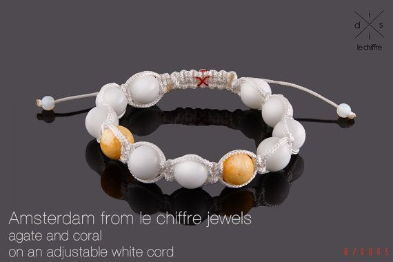 Amsterdam white agate and yellow coral by lechiffrejewels on Etsy
