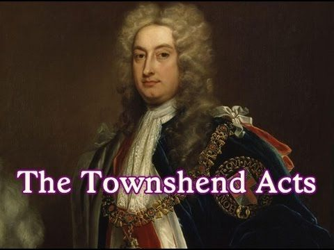Townshend Acts 1767, Taxed colonist on glass, paper, and tea. The acts are named after Charles Townshend,