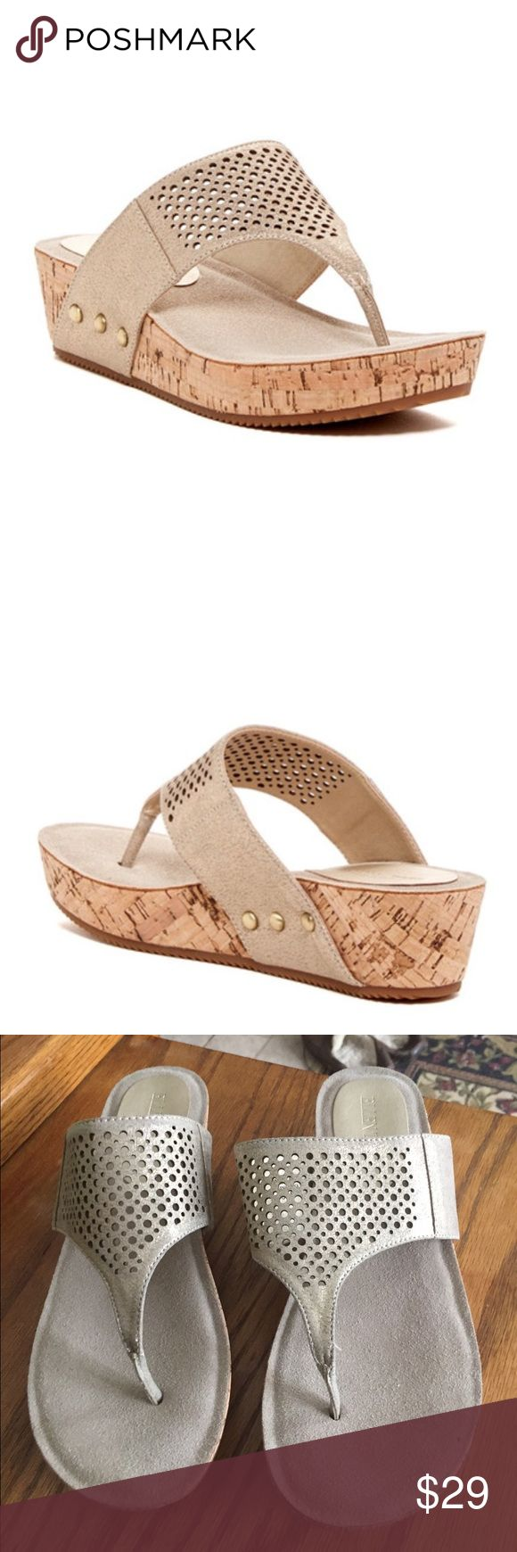 Gold shimmer Ithaka platform wedge cork sandal New with out tags. - never used. Cushioned heel for comfort!!   Cork wedge 1.75 heel 1 inch platform.    They remind me of a classy Birck Ellen Tracy Shoes Wedges