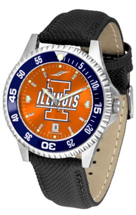 Illinois Fighting Illini Competitor AnoChrome Men's Watch with Nylon/Leather Band and Colored Bezel