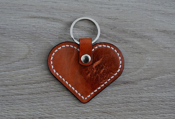 Leather heart keychain brown and white stitch van NHLdesign op Etsy
