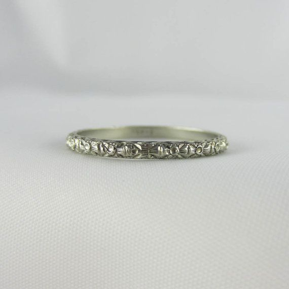 Art Deco Engraved Wedding Ring Orange Blossom And Wheat Pattern In White Gold Circa 1920s
