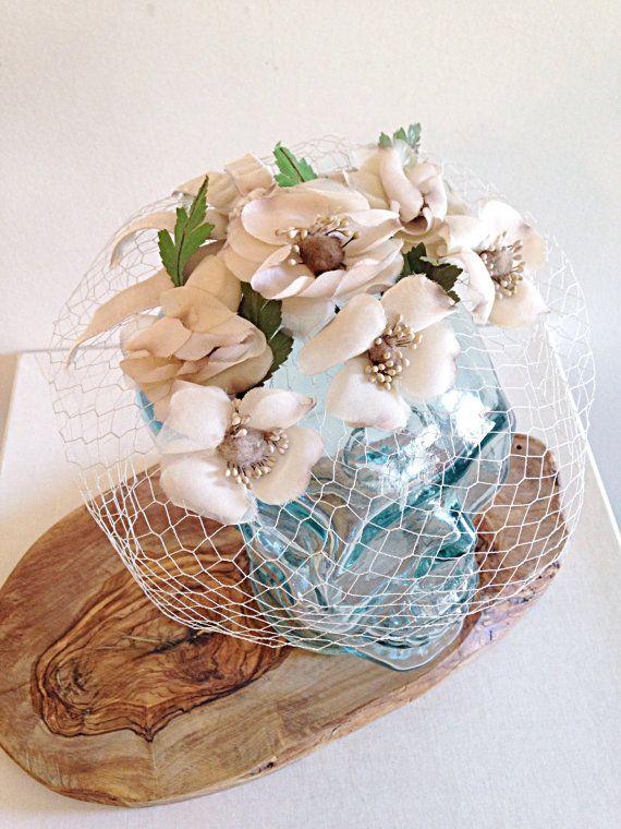 $22 Vintage Beige Floral Fascinator with Netting by thelittlegrasshut