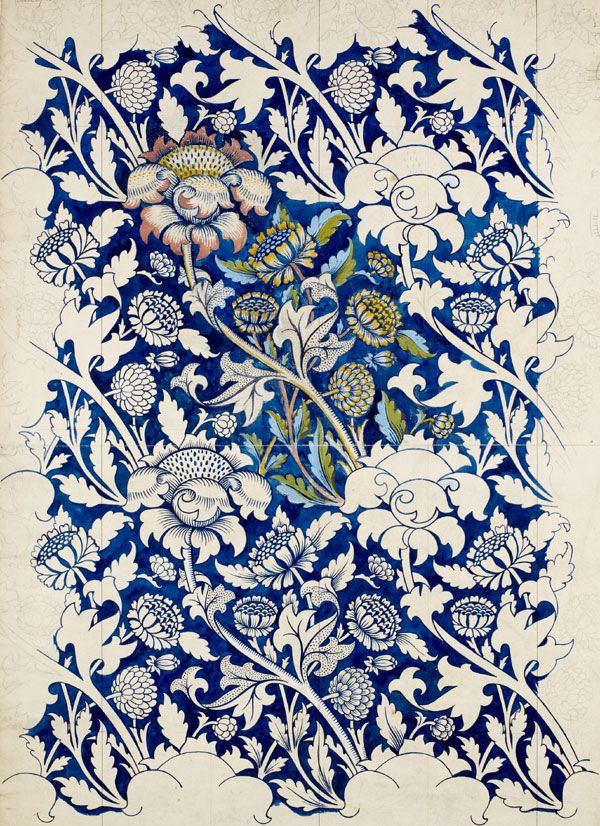 William Morris (1834-1896). Design for a printed textile: 'Wey', 1882-3. Pencil and watercolour heightened with white bodycolour on paper