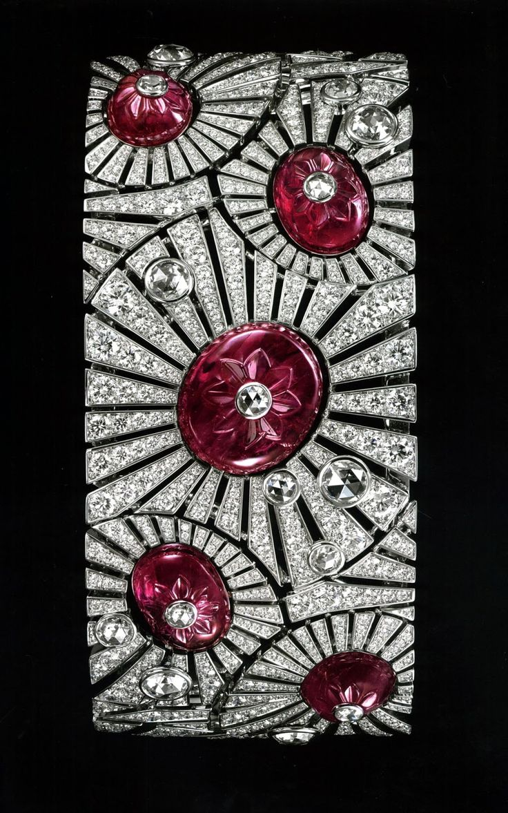 Cartier. Carved Ruby and Diamond Art Deco Bracelet.