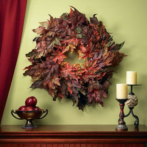 Maple Leaf Wreath:  There's no faster or easier way to decorate your home this fall than with our long-lasting, extremely realistic Nearly Naturals! These beautiful silk wreaths and arrangements are designed to look just like the real thing, the color and texture of each piece based on those found in nature. --This product is no longer available, however click the image to see this year's Everlasting Wreaths!