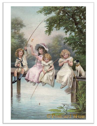 Victorian Children Fishing Vintage Trade Card Image Greeting Card or Print TC032 | eBay