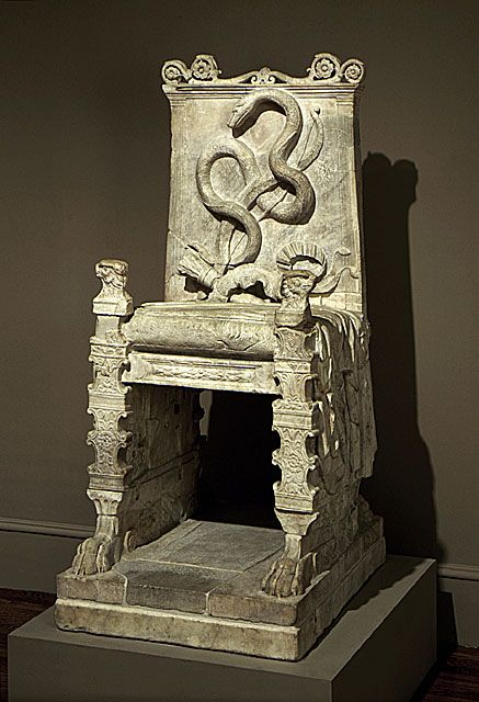 """Throne, Roman, late 1st century A.D.    """"This object was not intended to have a The motif of the empty throne symbolized a deity or a departed hero. The presence of the snake suggests that this one was dedicated to Apollo, who killed the dragon called Python, often depicted as a serpent."""