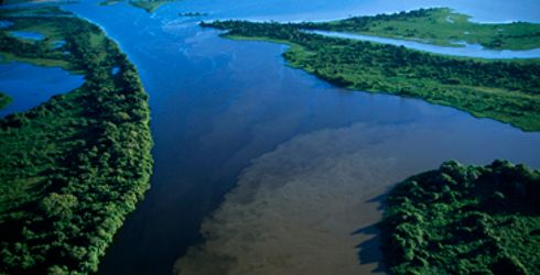 """Cuiabá [River] joins the Paraguay River inside the Pantanal National Park, Pantanal, Brazil"" -- Photo by Scott Warren -- Click through to learn of conservation efforts for the world's largest floodplain. Other photos of this confluence: http://www.macaulay.ac.uk/pantanal/images/cuiaba_river.html and http://nationalparkorgenglish.wordpress.com/"