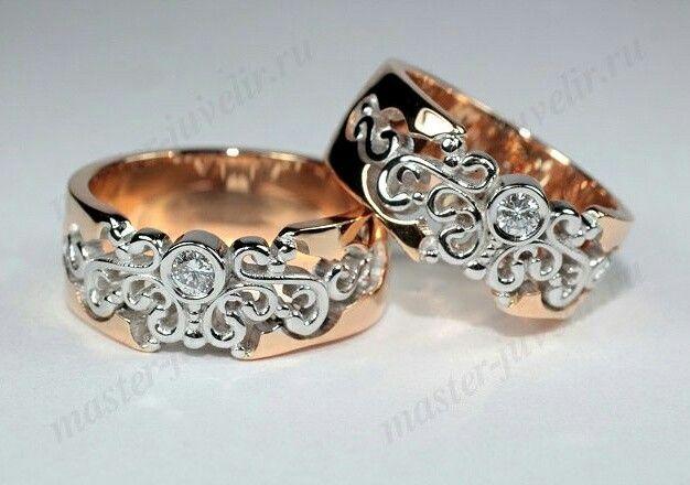 Обручальные кольца. Артикул Обр1001 ,комбинированное золото 585 пробы, вес 20 гр/пара, бриллианты 4 мм.