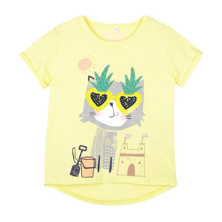 Girl's light yellow sunglasses cat t-shirt - Kids - Debenhams.com