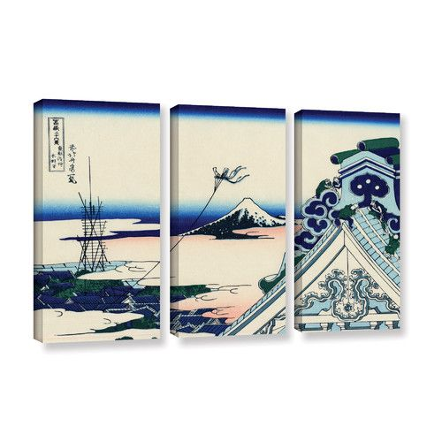 Found it at AllModern - Asakusa Honganji Temple in The Eastern Capital by Katsushika Hokusai 3 Piece Painting Print on Wrapped Canvas Set