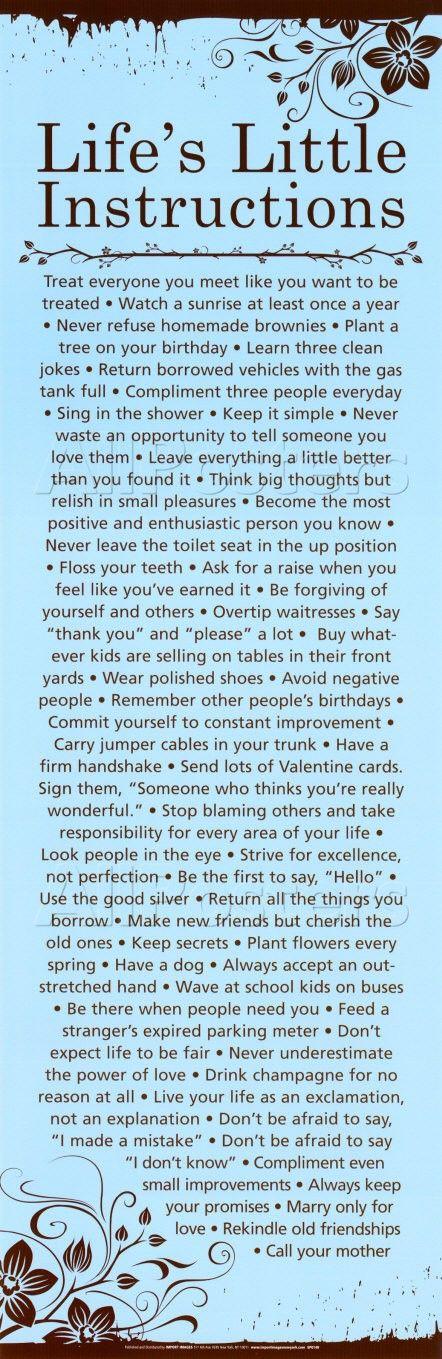 life's little instructions.