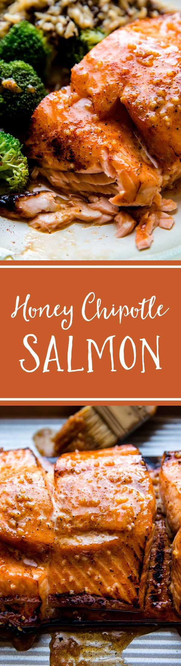 30 minute dinner! 5 ingredient honey chipotle salmon with delicious garlic honey butter on top! Moist and tender with crispy edges. Grilled or baked salmon! Recipe on sallysbakingaddiction.com
