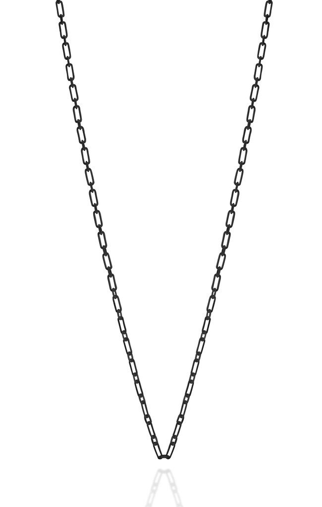 Links long sterling silver black rhodium plated chain