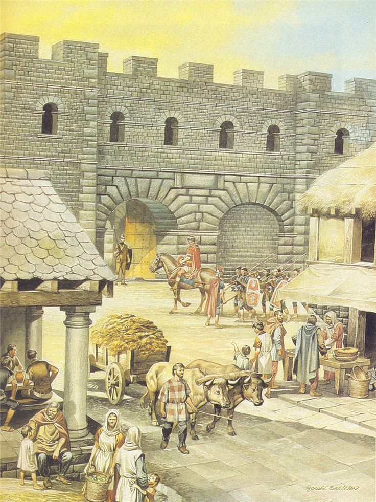 """a scene from the """"vicus"""" or settlement outside the walls of a Roman fortification ~ Ron Embleton"""