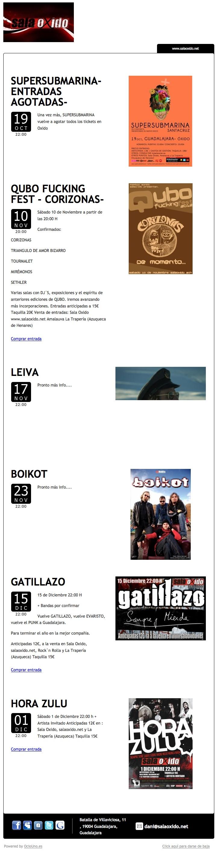 Sala Oxido, Guadalajara, anuncia sus programación de conciertos mediante newsletter utilizando OcioUno. Además vende sus entradas directamente online a través de su propia web. Todo con OcioUno. Más información en www.ociouno.es