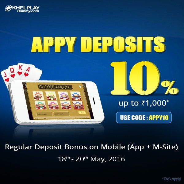 KhelPlay Rummy (@KhelPlayRummy) | Twitter Appy Deposits #Offer – Get 10% Regular Deposit #Bonus On Mobile.  Use Bonus #Code: APPY10 http://bit.ly/1TmVOXC