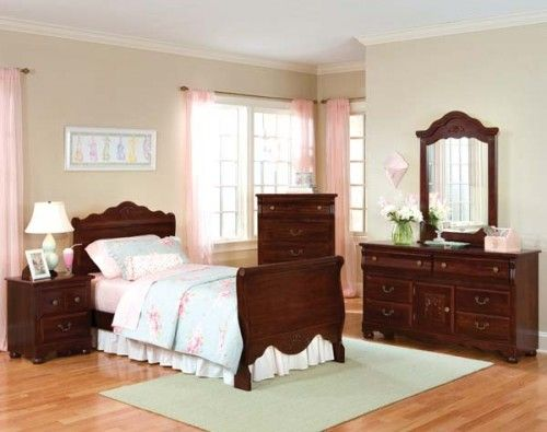 adorable little girls room with cherry furniture  | Victorian Style Sleigh Bed by Standard Furniture