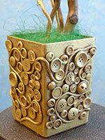 Купить горшок декоративный с пуговицами: для флористики