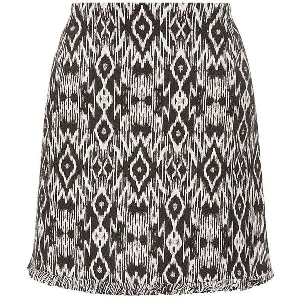 Black Aztec Jacquard Fray Hem Skirt (€27) ❤ liked on Polyvore featuring skirts, mini skirts, mini skirt, aztec print mini skirt, aztec skirt, black skirt and aztec mini skirt