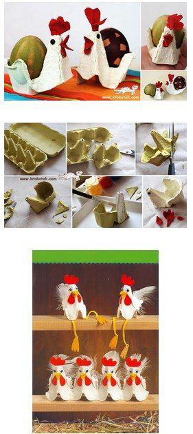 galinhas com caixas de ovos