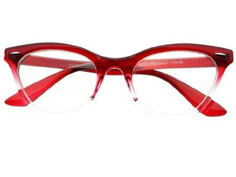 Amazon.com: New Womens Half Tinted Modern Retro Clear Lens Wayfarer Cat Eye Glasses Frames (Red): Clothing