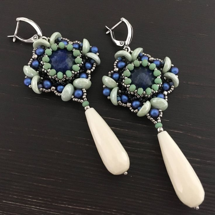 beaded earrings, VERONICA earrings, lazurite, cocktail earrings, blue earrings, evening earrings by Sjamgal on Etsy https://www.etsy.com/listing/523189906/beaded-earrings-veronica-earrings
