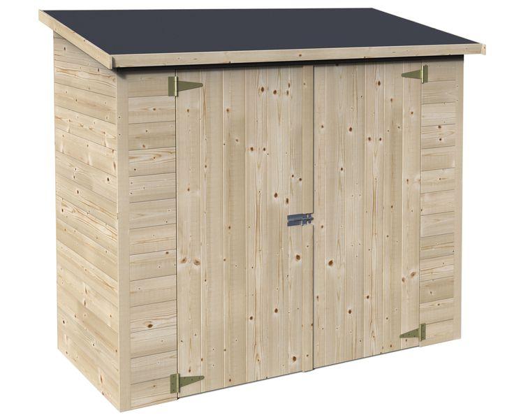 AKI+Bricolaje,+jardinería+y+decoración.+ Armario+madera+BOX+BIKE+ Arcón+de+madera+de+pino+nórdico,+con+una+superficie+total+de+1,88+m<sup>2</sup>.+Montaje+mediante+panelado,+espesor+de+12+mm.+Recomendado+para+guardar+bicicletas.