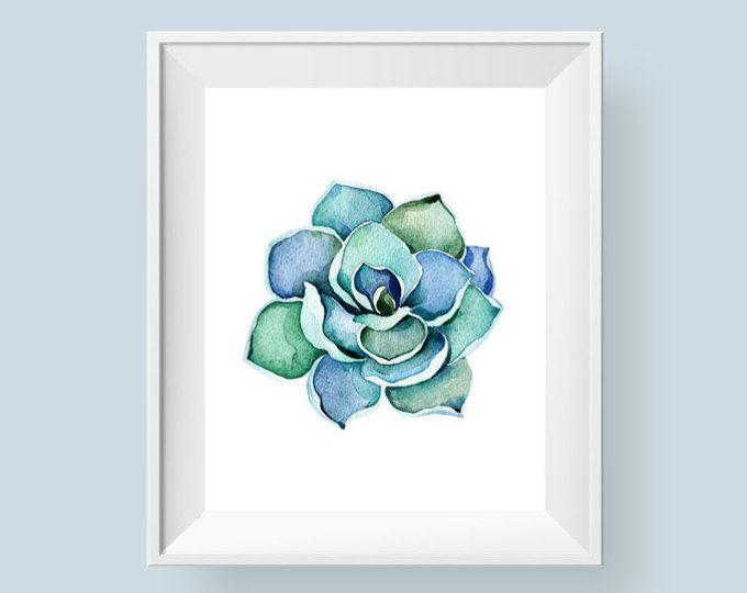 Sappige Print, aquarel Cactus afdrukbare Wall Art, cactussen blauw groene Art 5 x 7 8 x 8 8 x 10 11 x 14 badkamer muur Decor Instant digitale downloaden