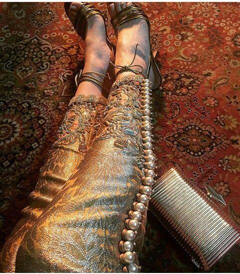 Pakistani embellished trousers by Ammara Khan.