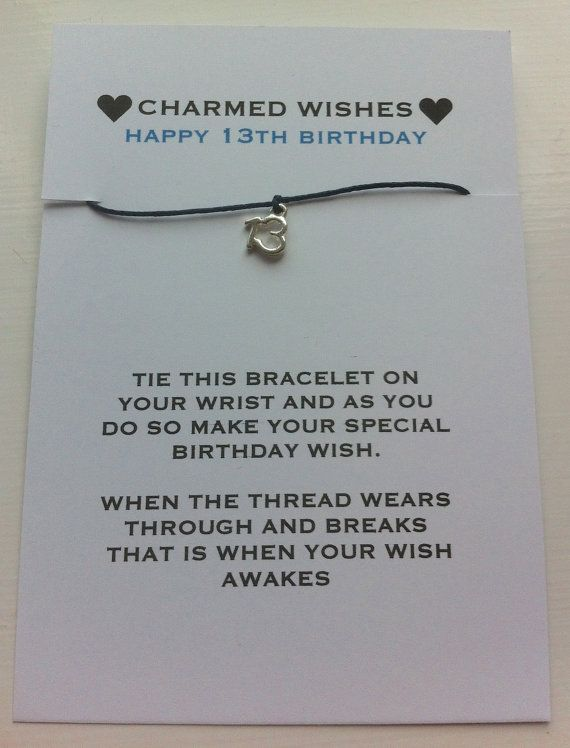 13th birthday bracelet Wish bracelet by CharmedWishesUK on Etsy More