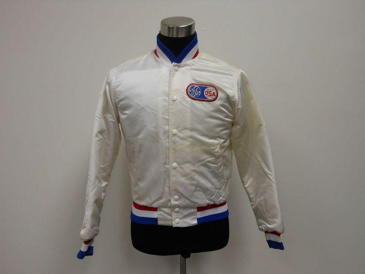 Vtg 80s 1984 USA GE Olympic Baseball Button Up Dugout Satin Jacket S Small MLB  #tcpkickz
