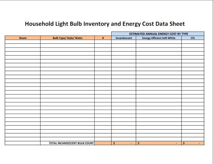 45 Days to Americau0027s Light Bulb Transition Which Will You Choose - Inventory Log Sheet