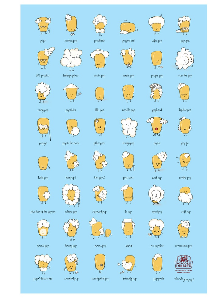 Popcorn Characters by  James Kuczynski & Dana Tiel  jameskuczynski.com