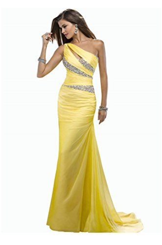 IDOBRIDAL One Shoulder Rhinestone Long Bridesmaid Evening Party Prom Dress 03-Yellow US size 6 IDOBRIDAL