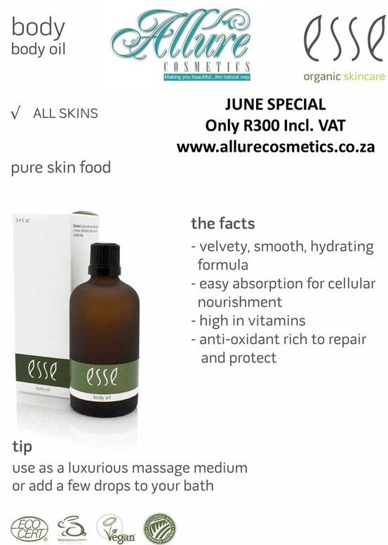 Esse Body Oil - Product of the Month On special for R300. www.allurecosmetics.co.za