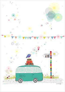 Affiche Enfant rétro Bus Combi Volkswagen - Amélie Biggs