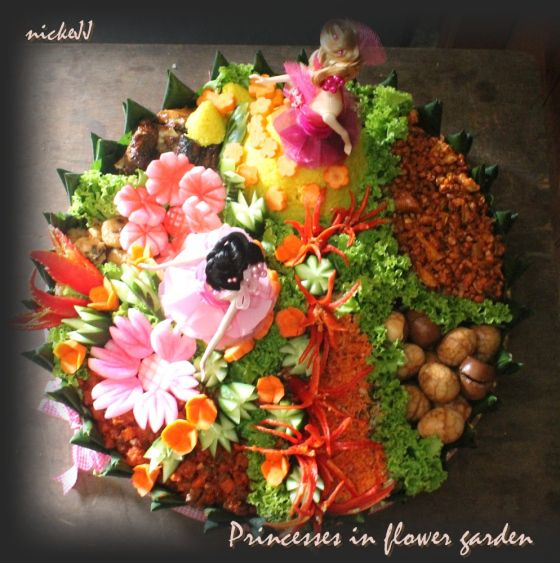from Top, barbie Doll Tumpeng for a twin birthday