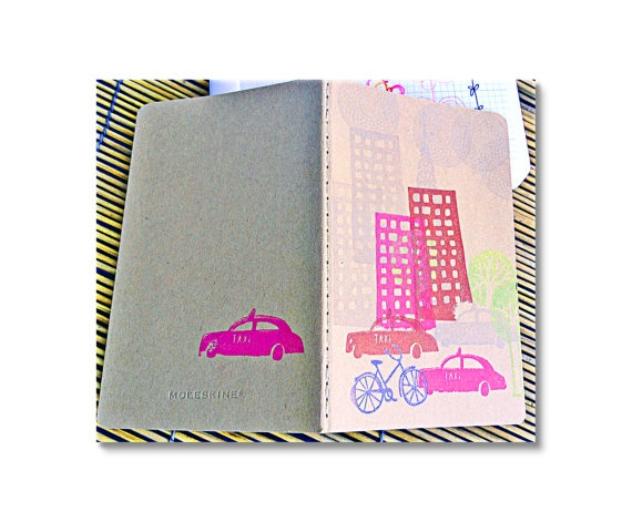 Cityscape Pocket notebooks by pinkponiesshop: Media Journals, Hands Stamps, Hand Stamped, Mixed Media, Cityscapes Pockets, Pockets Notebooks, Pretty Cities, Cities Journals