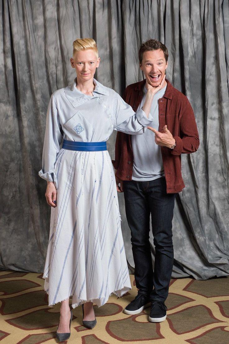 Tilda Swinton & Benedict Cumberbatch ~ Photo from DOCTOR STRANGE interview in BuzzFeed.