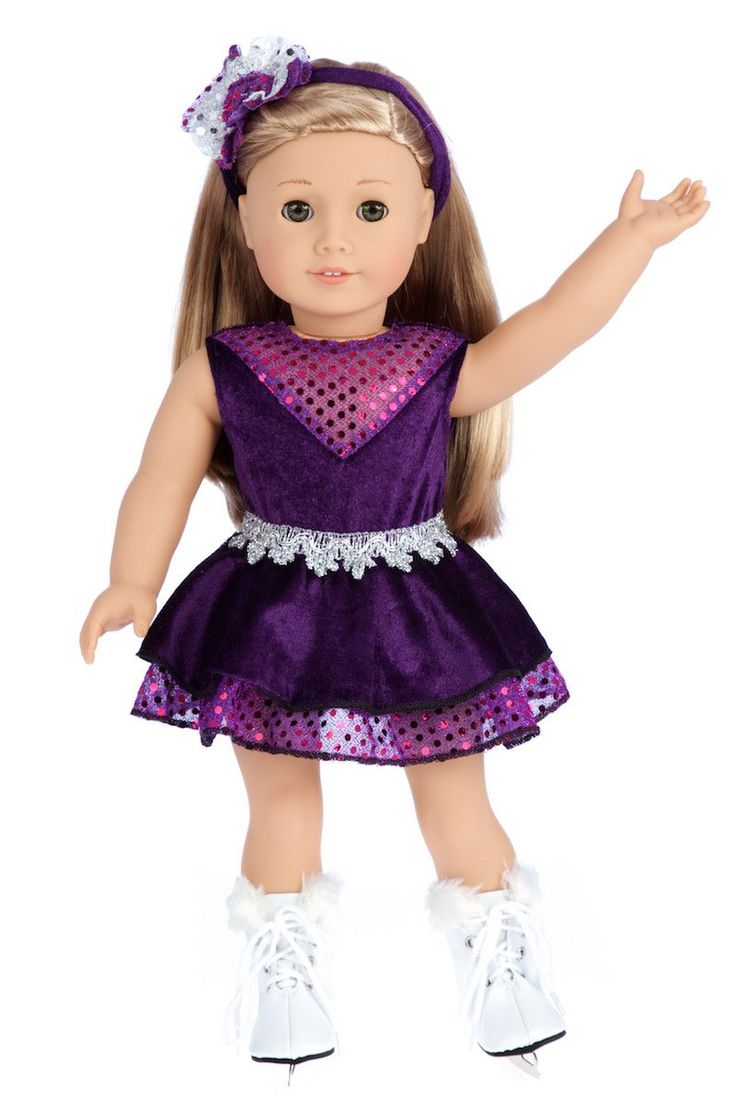 Ice Skating Queen - Clothes for 18 inch American Girl Doll - Leotard, Skirt, Headband, Skates – Dreamworld Collections