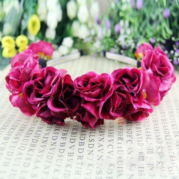 Rose Flower Crown Headband Wedding Festival Double Row Floral Garland Hairband